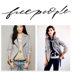 Free People Slouched & Quilted Grey Moto Jacket